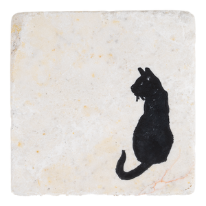 Black Cat Sitting Handmade Stone Coaster