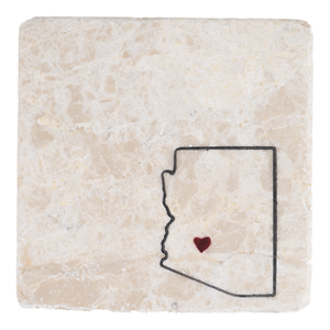 Arizona state with a heart handmade stone coaster