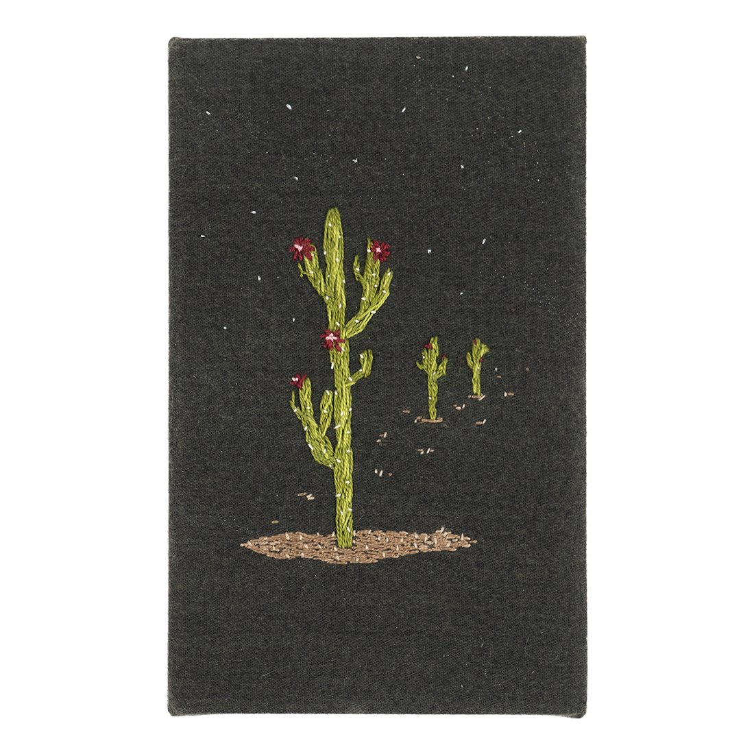 Saguaro in a Field Embroidery Art Piece