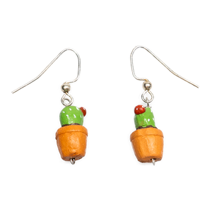 Potted Cactus Dangling Earrings
