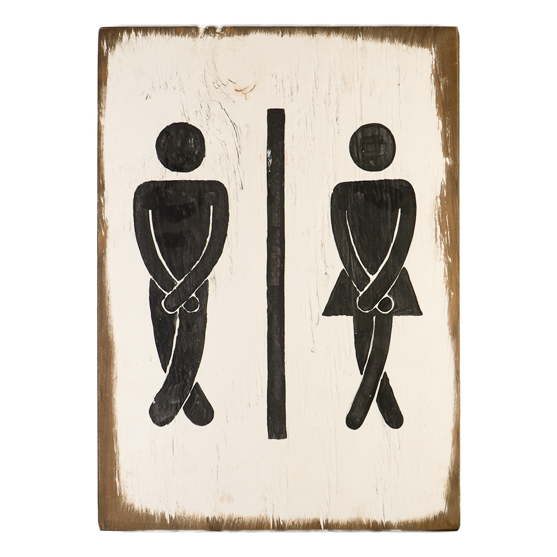 Wooden potty dance sign
