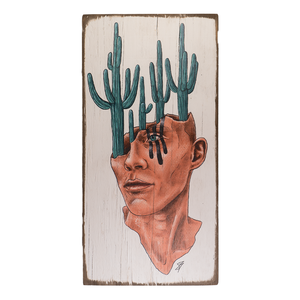 Saguaro on the mind wood painting