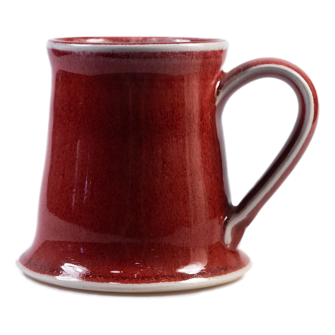 Handmade red glazed ceramic mug