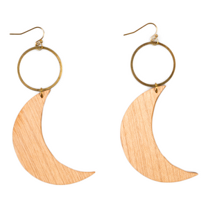 Circle and moon wooden earrings