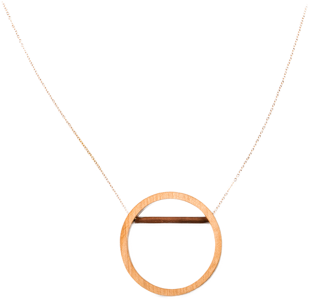 Hickory Wood Circle with Copper Line Necklace