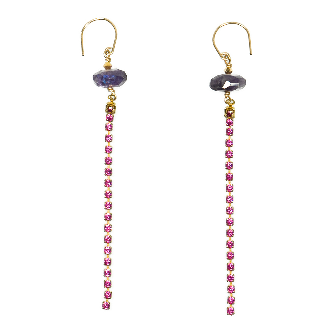 Amethyst and Vintage Crystal With 14k Gold Filled Hooks Earrings