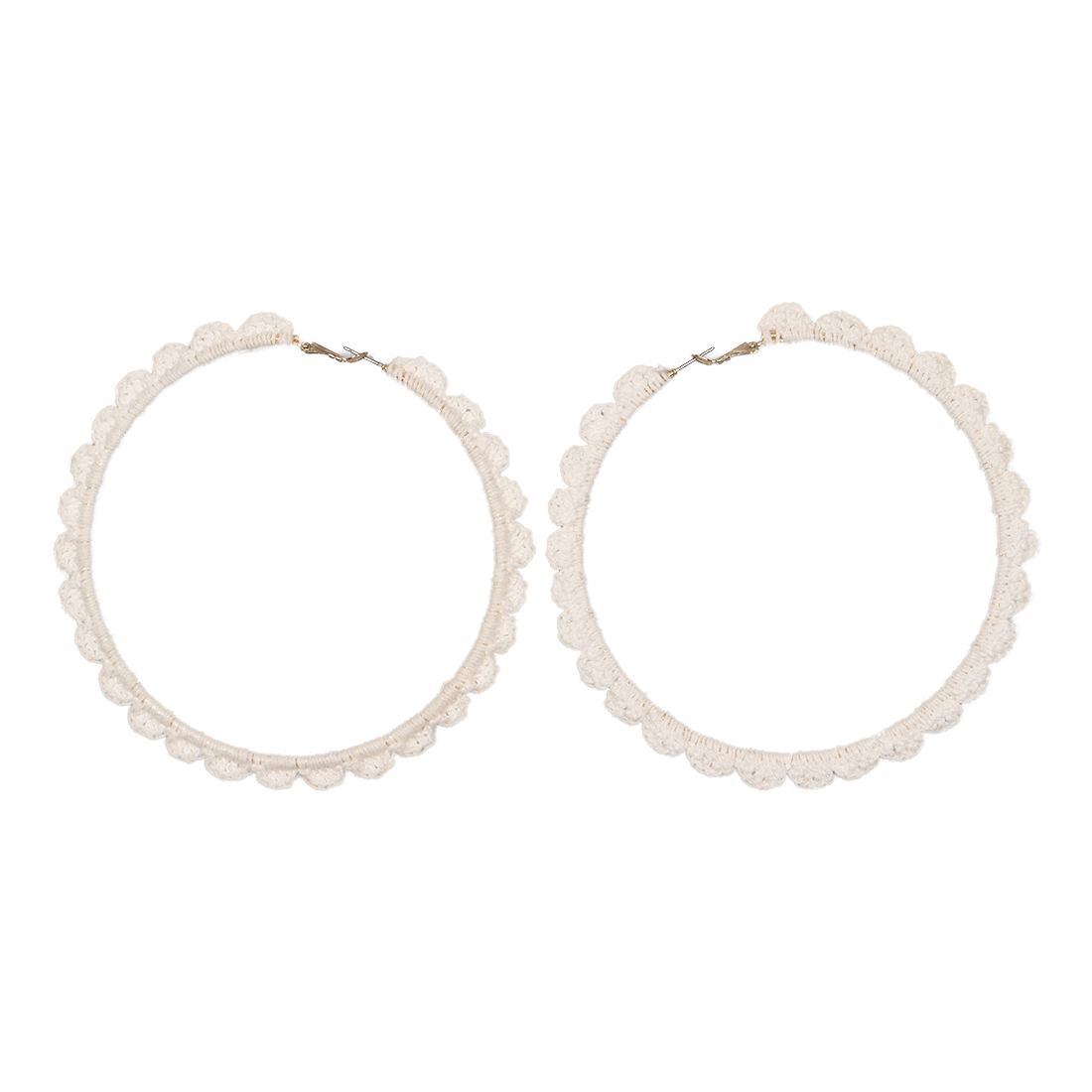Crocheted hoop earrings white