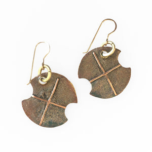 Brass Ore Shield Earrings with Copper Crosses