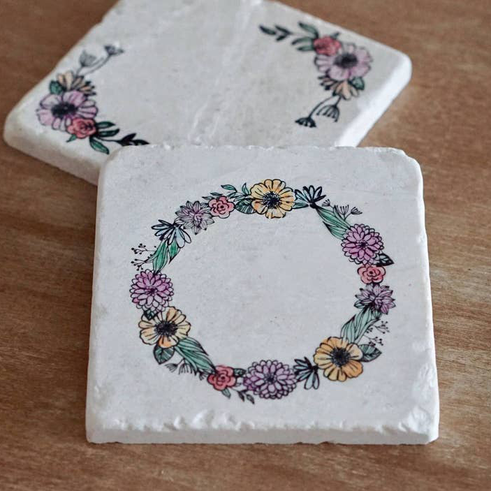 Floral Wreath Marble Coaster