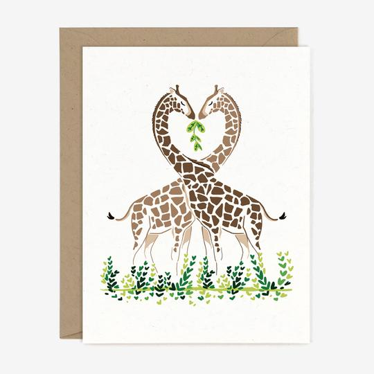 Entwined Giraffes Love Card