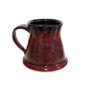 Handmade red and black glazed ceramic mug