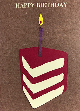 Happy birthday cake slice and candle card