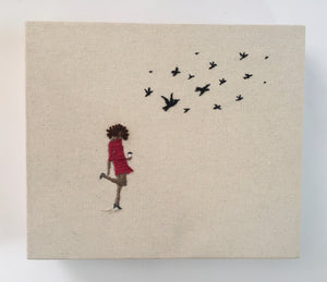 Girl Walking with Coffee Embroidery with Birds