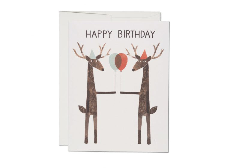 Reindeer With Balloons Birthday Card