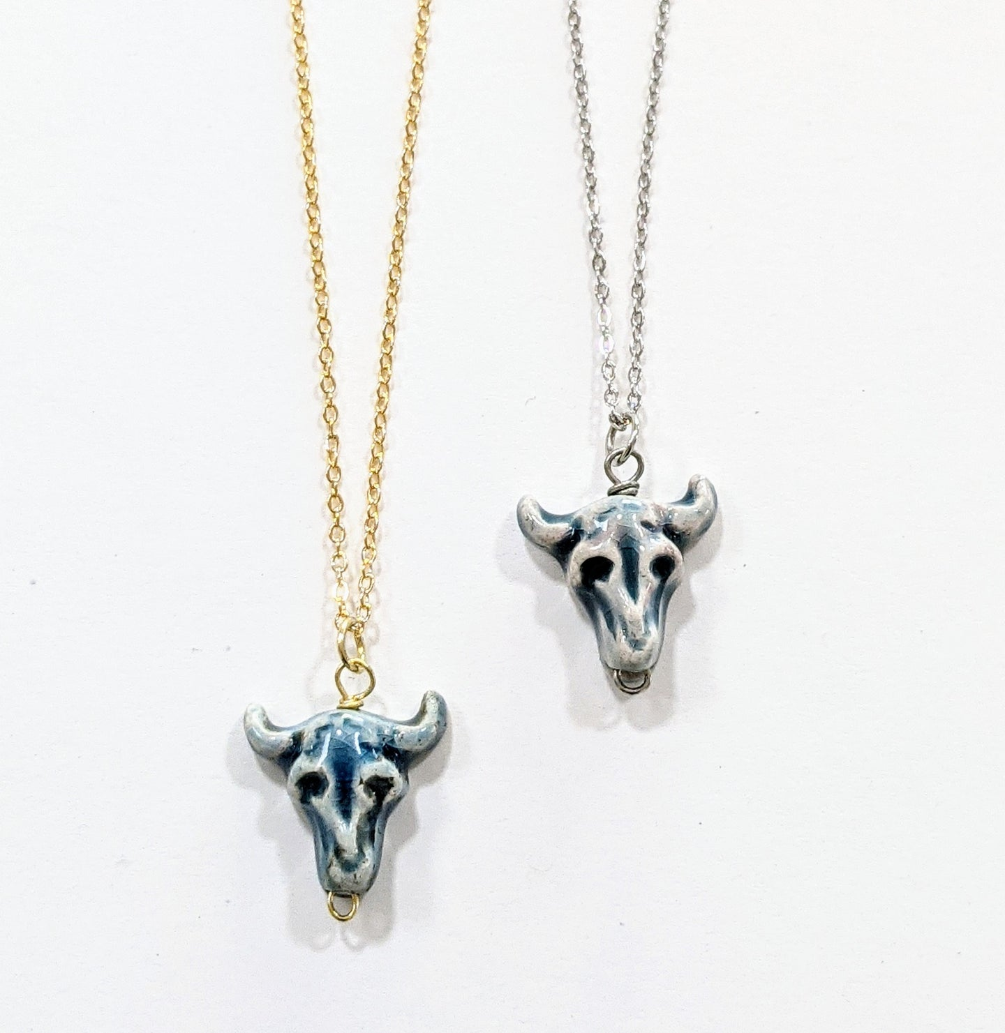 Blue steer skull charm handmade necklace