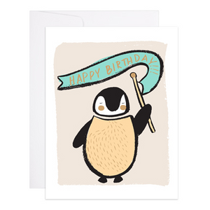 Penguin With Banner Birthday Card