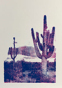 Pop Art Saguaro desert colorful dots linoleum hand-pulled card