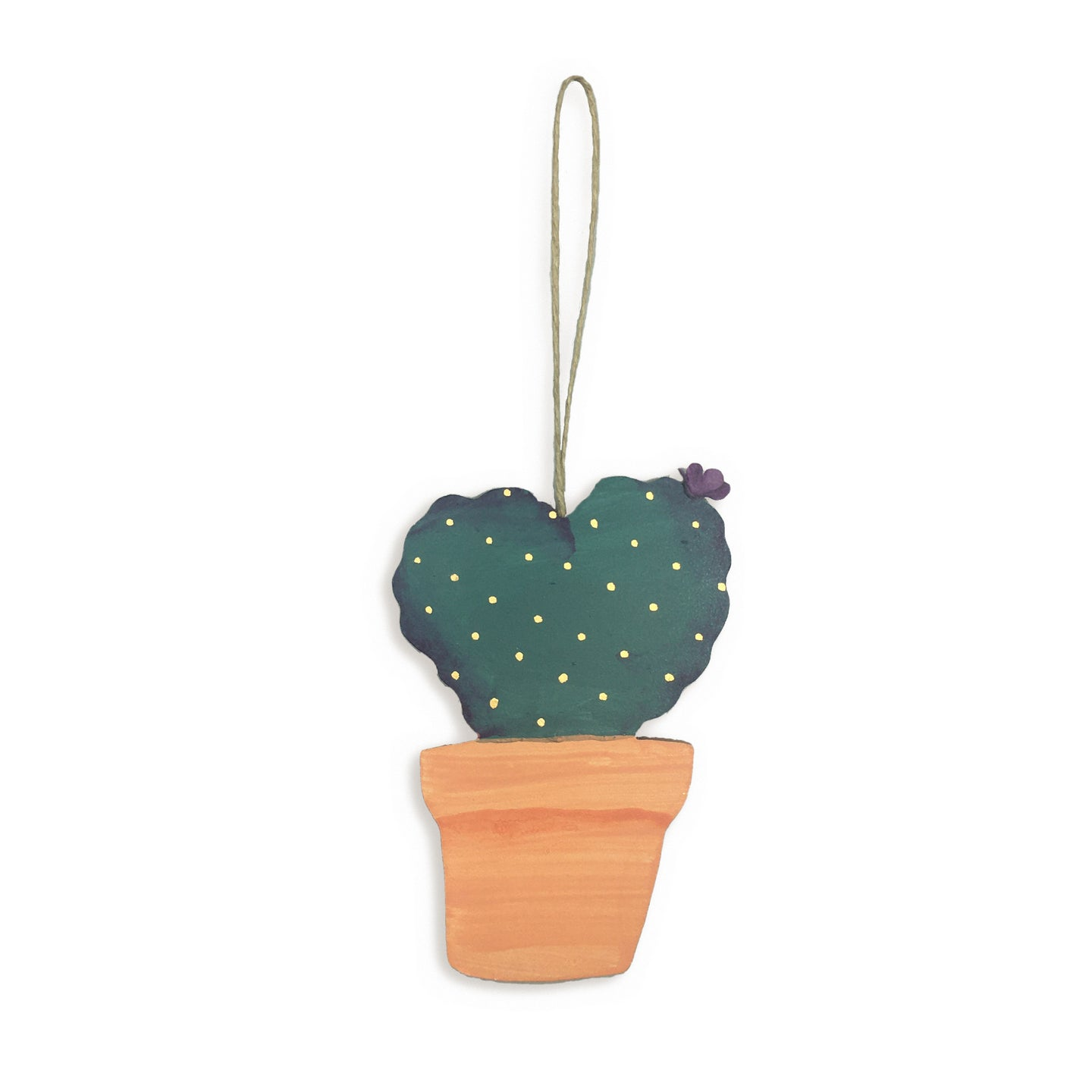 Wooden cactus hanging tag - prickly pear
