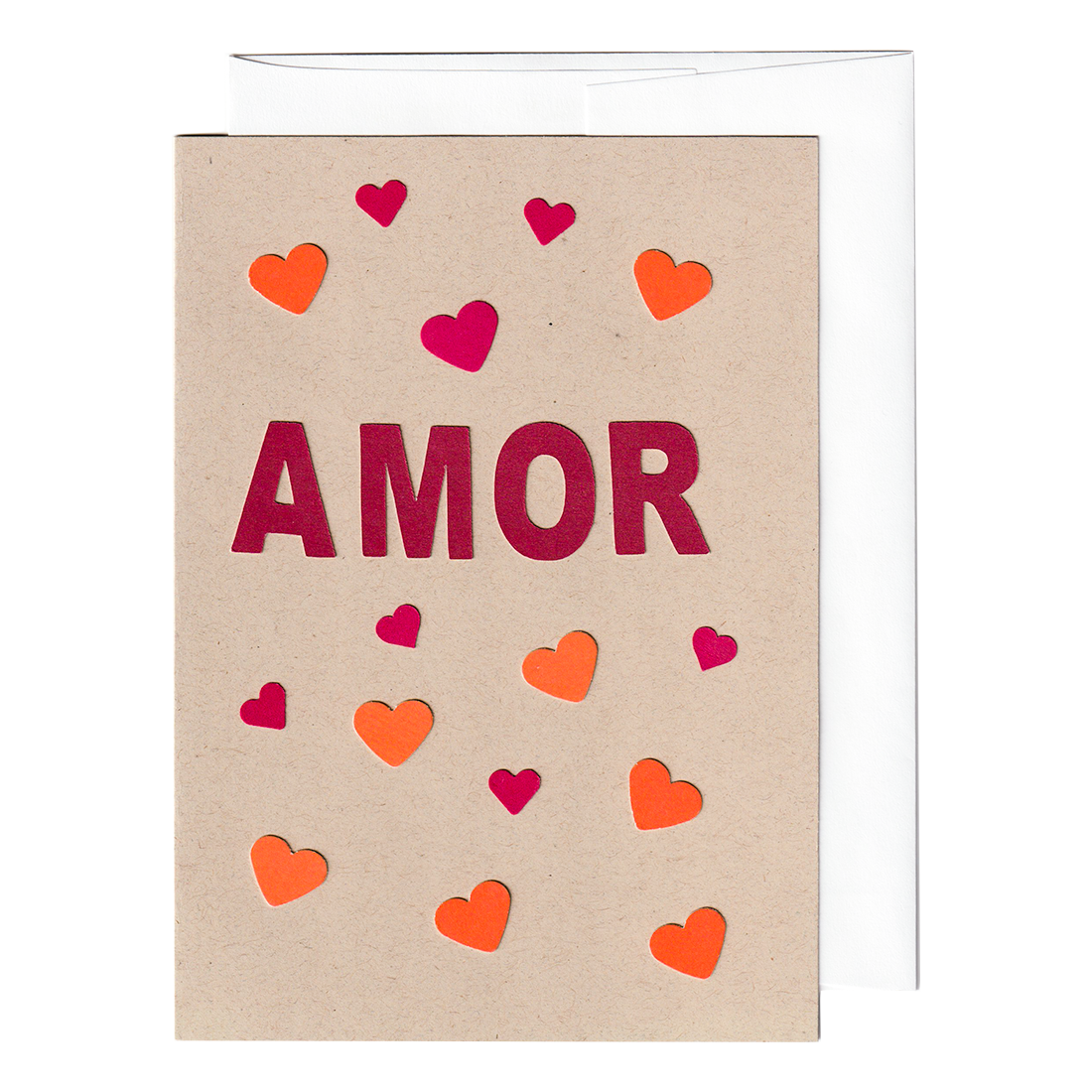 Amor with hearts handmade cut paper card