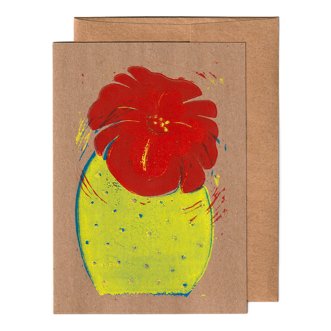 Cactus with flower print card