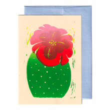 Load image into Gallery viewer, Cactus with flower print card