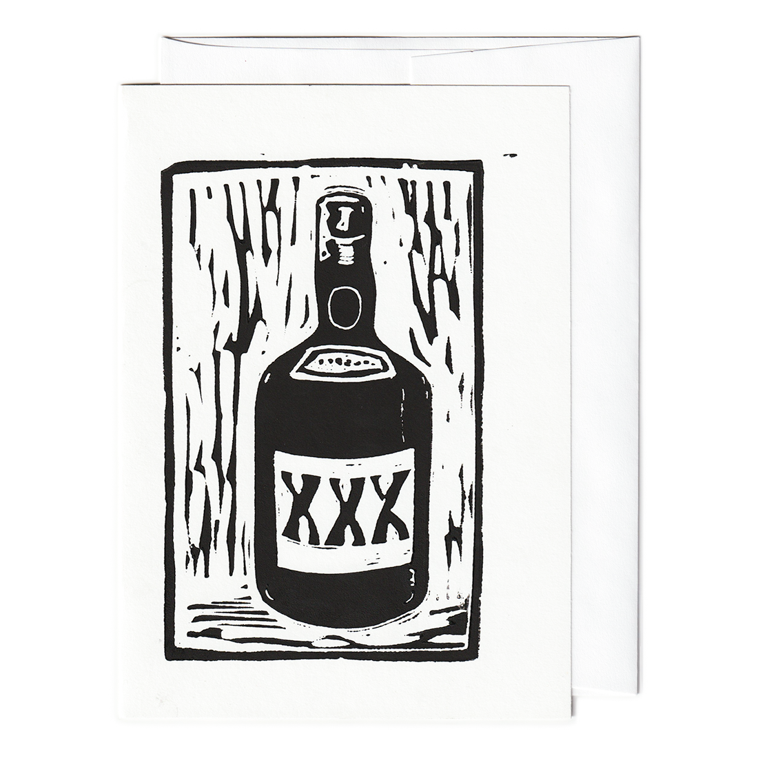 XXX liquor bottle print card