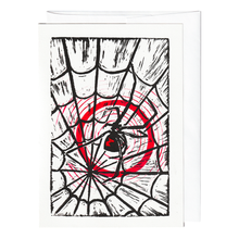 Load image into Gallery viewer, Black widow spider in a web print card