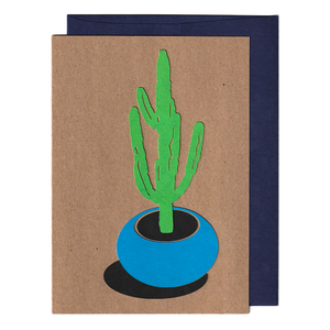 Potted cactus handmade cut paper card