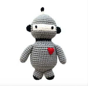 Baby Robot Hand Crocheted Rattle