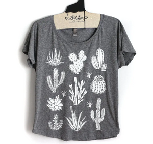 Succulent Cactus T Shirt - heather gray