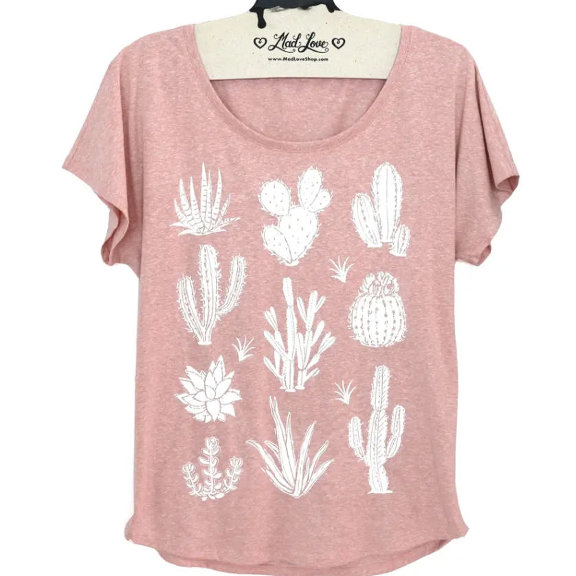 Succulent Cactus T Shirt - heather pink