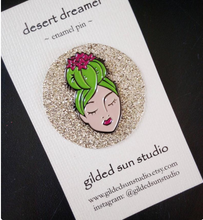 Load image into Gallery viewer, Desert Dreamer Cactus Lady enamel flair lapel pin