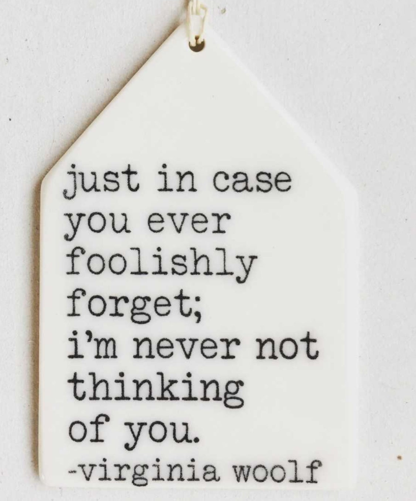 Porcelain Wall Tag - Virginia Woolf