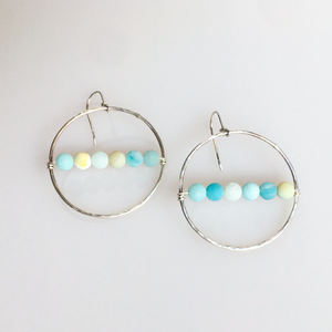 Sterling silver hoops with Amazonite earrings