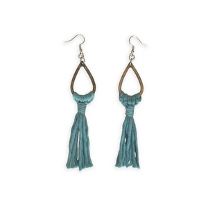 Handmade long teardrop tassel blue macrame earrings