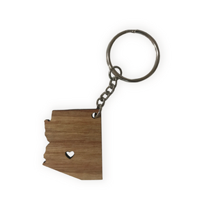AZ shaped heart cut out wood keychain
