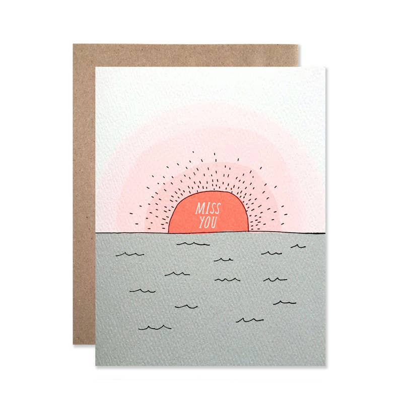 Miss You Sunset Card
