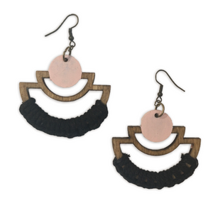 Handmade black and pink geometric macrame earrings
