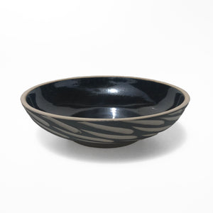 Black Gazed Carved Shallow Earthenware Bowl