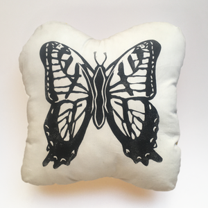 Butterfly Block-Printed Throw Pillow