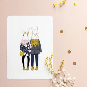 Bunny Couple With Scarves Postcard