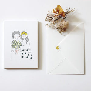 Sisters With Bouquet and Love Shirt Card