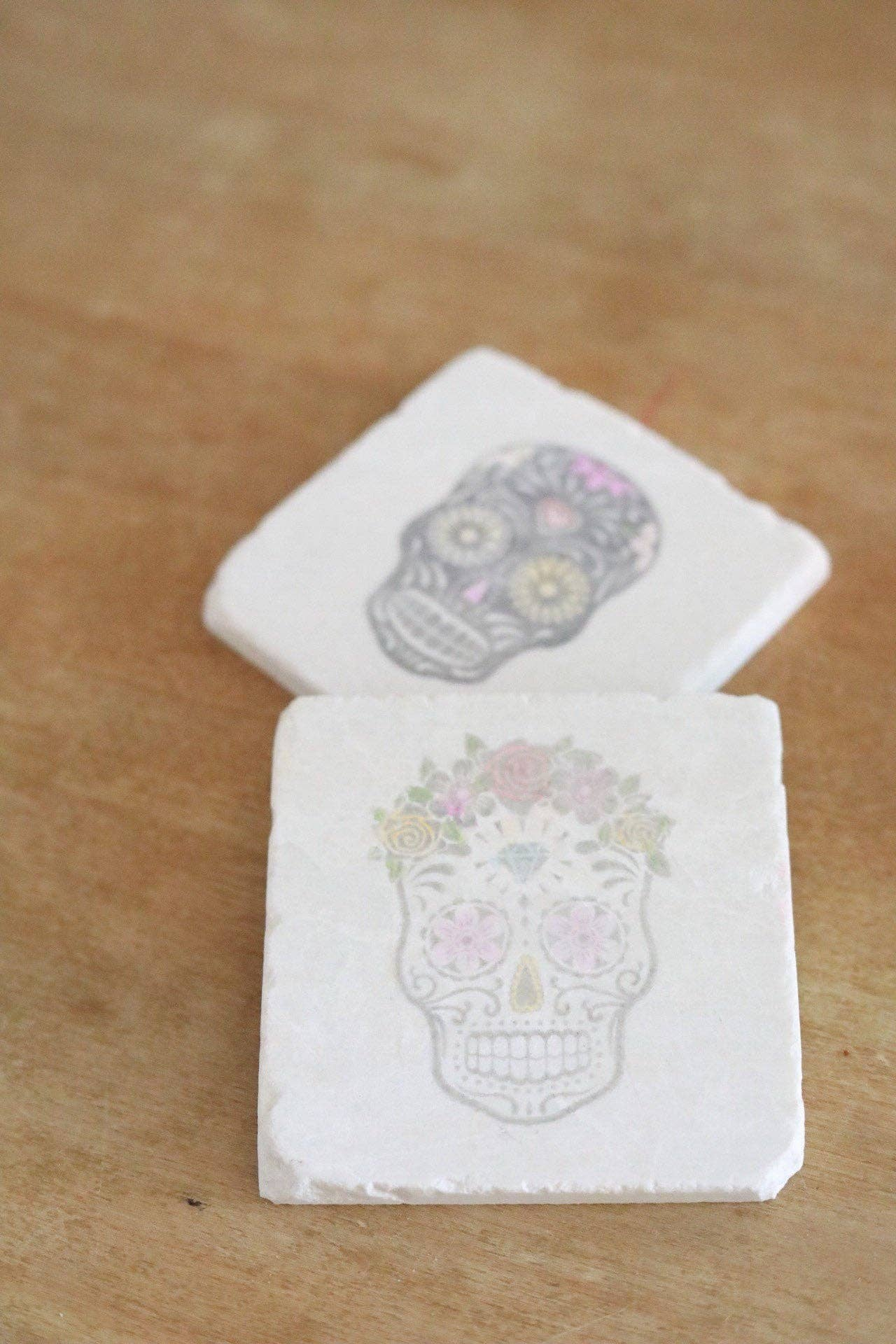 Sugar Skull Painted Marble Coaster