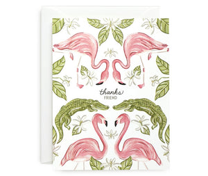 Flamingo and Gator Thanks Card