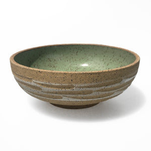 Green Gazed Carved Earthenware Bowl