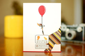 Striped Giraffe With Balloon Birthday Card
