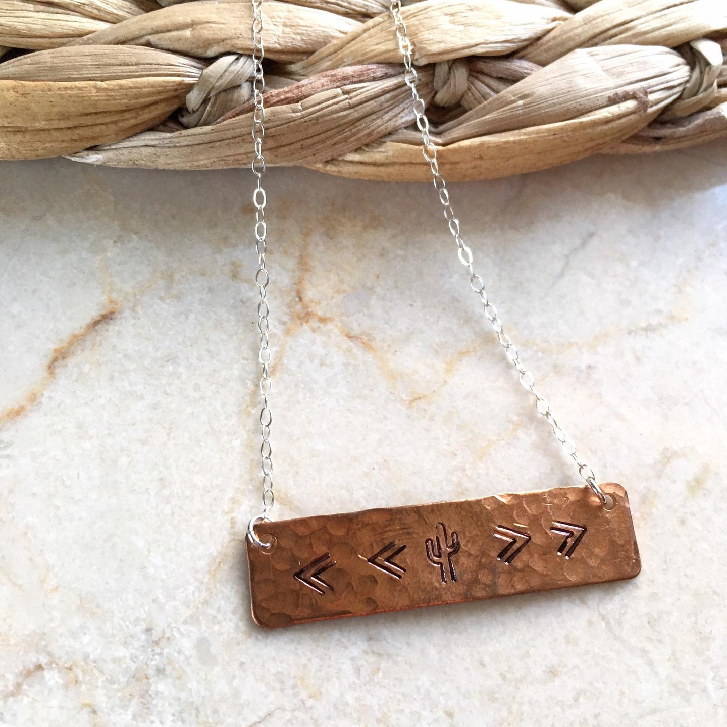 Hammered Rectangle Copper Bar with Cactus Stamp on Sterling Silver Chain