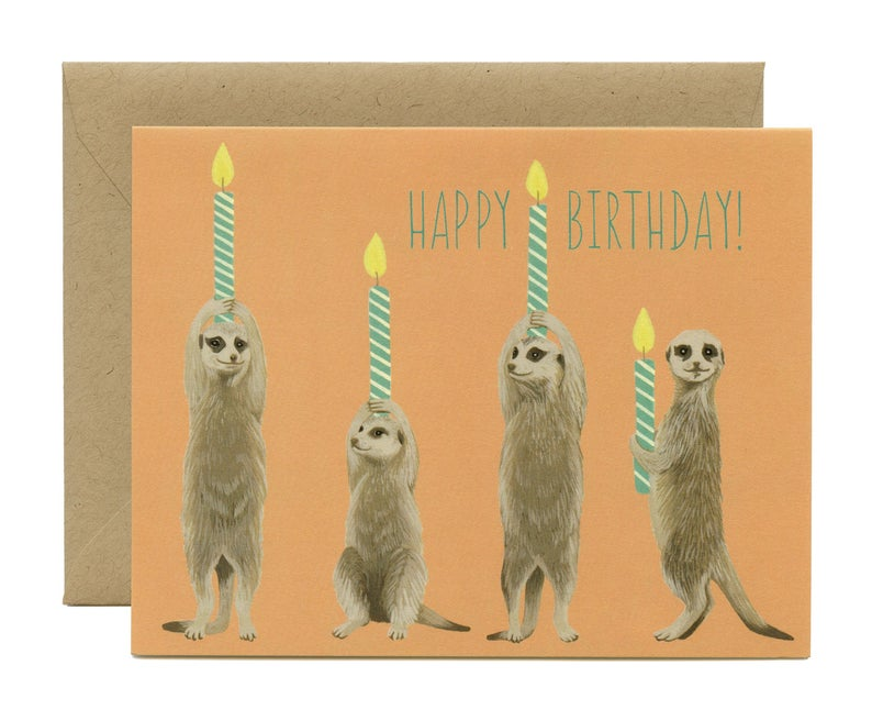 Meerkats With Candles Birthday Card