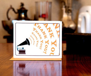 Old-fashioned Gramophone Thank You Card