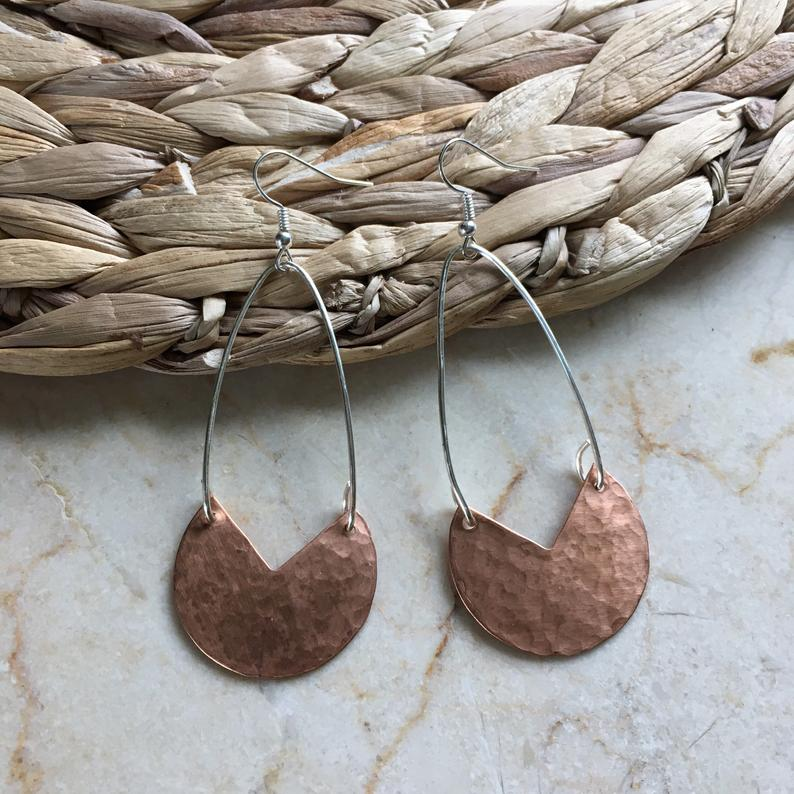 Hammered Copper Shape Earrings. Mixed Metal